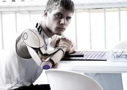 Half man, half robot.